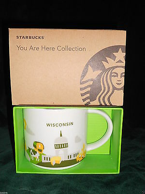 Starbucks Mugs You Are Here Collection Wisconsin Nib Free Shipping 14 Oz.