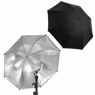 "MK 2PCS 33"" Black / Silver Umbrella Reflector Studio Flash Lighting Diffuser"