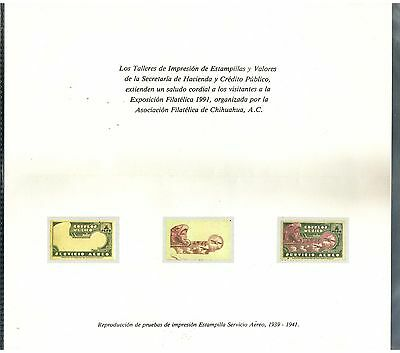 433 MEXICO Reproduction print proof stamp on card for TIEV ExpoPhil Chihuahua 91