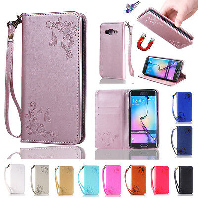 Magnetic Butterfly Card Leather Flip Wallet Case Cover Stand For Samsung Galaxy
