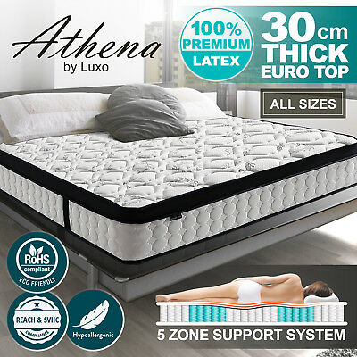 Latex Euro Top Mattress QUEEN DOUBLE KING SINGLE 5 Zone Pocket Spring Foam Bed