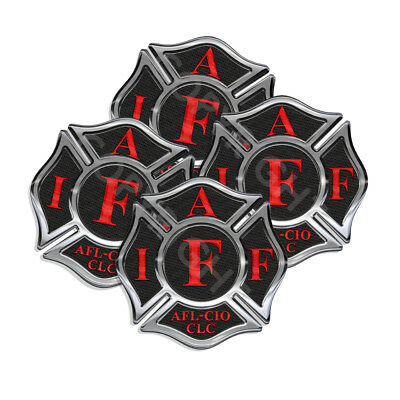 IAFF Sticker Decals 4pack Firefighter Intl Maltese Cross 2inch wide Black w Red