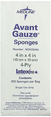 Medline Avant Gauze, Non-Woven and Non-Sterile Sponges, 4x4 Inch, 200-Count