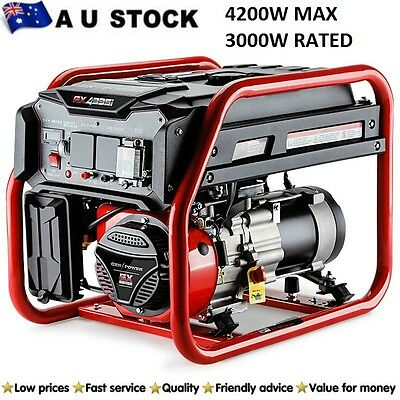 Generator NEW GENPOWER 4.2kVA Max 3kVA Rated Single-Phase Petrol Site Portable