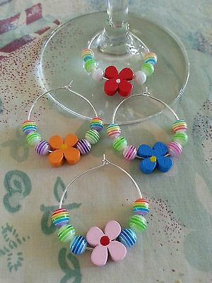 Set of Four Wine Glass Charms - Mothers Day Gift