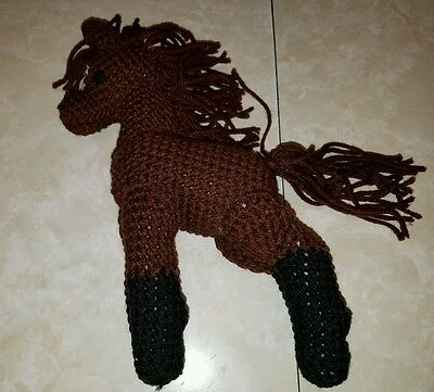 Black and brown crocheted horse pony, handmade