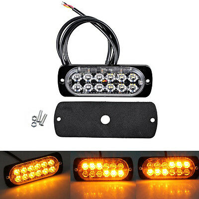 AMBER RECOVERY STROBE 12 CREE LED LIGHTS ORANGE GRILL BREAKDOWN FLASHING 12v/24v