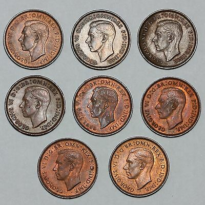 1939 To 1946 King George Vi Great Britain Bronze Farthing Coins