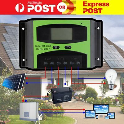 40A 12V/24V LCD Solar Panel Battery Regulator Charge Controller Auto PWM AU