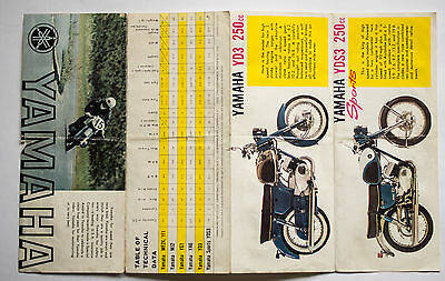 Yamaha 1964 original sales brochure YDS3 YD3 YA6 YG-1 YF-1 MJ2 MF2K