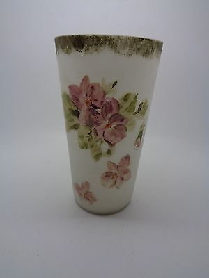 VINTAGE CZECH? HAND PAINTED PINK ROSE GLASS ON OPAQUE WHITE BACKGROUND (ref 68)