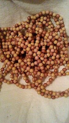 vtg. Primitive christmas tree wooden beaded garland