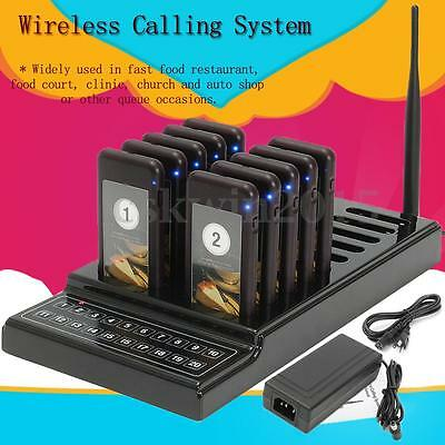 Restaurant Guest Call Wireless Paging Queuing System+ 10pcs Call Coaster Pagers