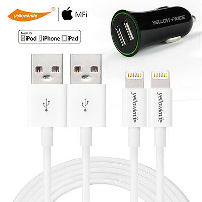 2XGenuine Apple Certified 1M Charger Cable+2.4A Car Charger iPhone 6 7 iPad Pro