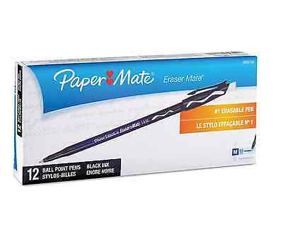 Paper Mate Eraser Mate Ballpoint Stick Erasable Pen Black Ink Medium Dozen
