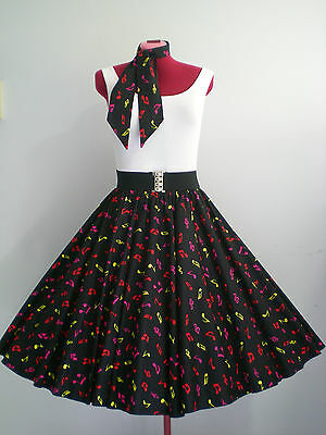 """ROCK N ROLL/ROCKABILLY """"Music Notes"""" SKIRT-SCARF S-M Black/Multi Coloured Notes"""