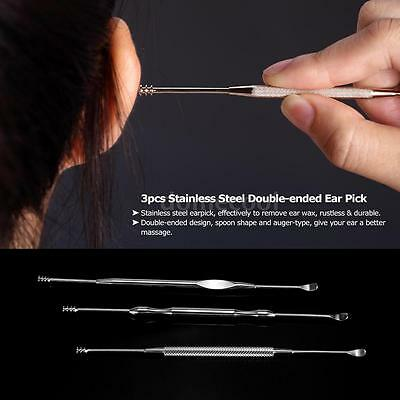 3pcs Stainless Steel Ear Pick Double-ended Spoon Clean Ear Wax Removal Q8W5