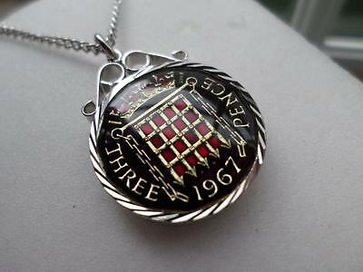 Vintage Enamelled Threepence Coin 1967 Pendant & Necklace. 50Th Birthday Present