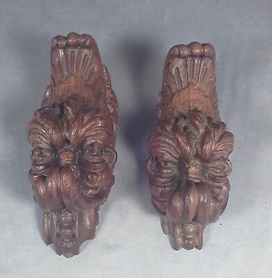 PAIR Carved Medieval/Gothic Gargoyle Troll Coat Hooks Carved Walnut Wood ITALY