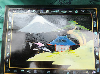 Vintage musical jewellery jewelry box lacquer mount fugi abalone decorations
