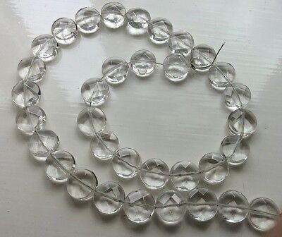 Clear Quartz 12mm Faceted Puffy Coins Gemstone - 41cm Strand - Jewellery Maker