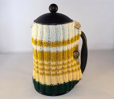 Cafetiere Cosy - Hand Knitted - French Press  Coffee Cover  - New Year Sale