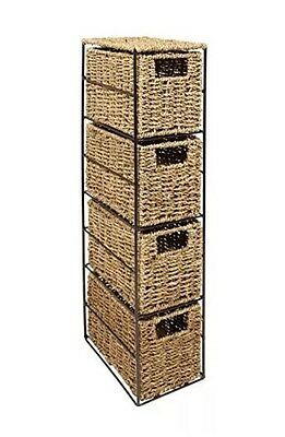 '5@6 WoodLuv Seagrass 4-Drawer Tower Storage Unit