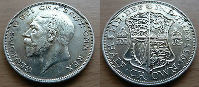1935 GEORGE V silver HALF-CROWN - high grade coin