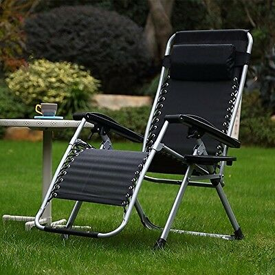 Respace Zero Gravity Outdoor Lounge Patio Folding Reclining Chair with Cup