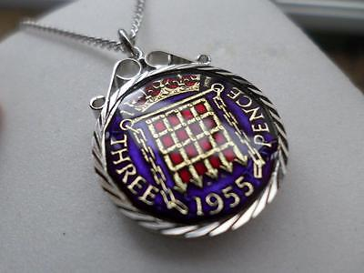 Vintage Enamelled Threepence Coin 1955 Pendant & Necklace. Birthday Present