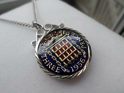 Vintage Enamelled Threepence Coin 1956 Pendant & Necklace. Birthday Present