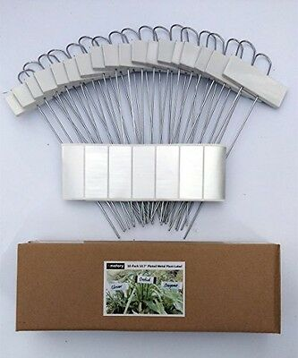 "Amatory Painted Metal Plant Labels Garden Markers Set of 18 (White-10.7"")"