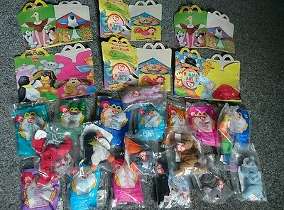 Teenie Beanie Babies Mcdonald's Original Packaging & Happy Meal Boxes 1990's
