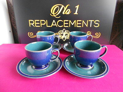 4 x Denby Harlequin Teacups and Saucers Blue Green