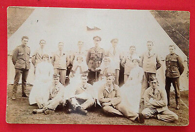 WW1 - Group of Soldiers in Hospital Blues with Nurses & Officer RP PC by Moore