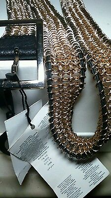 Mango,women's gold chain link belt with synthetic leather piping