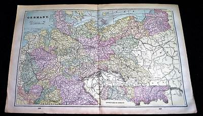 Germany Austria-Hungary Empire & Italy Map 1894 Cram's Atlas Page Vintage