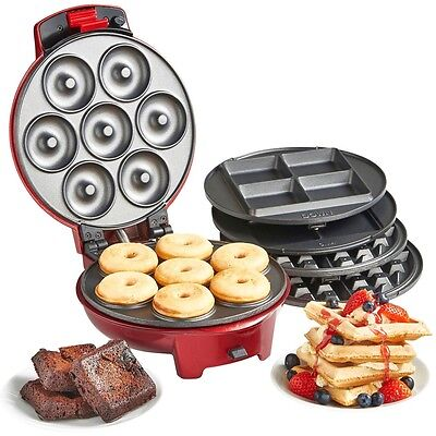 Mini Doughnut Brownie and Waffle Maker 3 in 1 Electric Machine Donut Non Stick