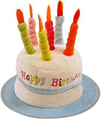 Happy Birthday Novelty Plush Cake Hats With Candles Party Hat Blue Funny