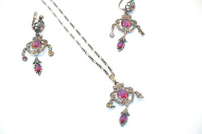 necklace and earring silver sterlin Victorian Style Women Jewel Wedding Vintage