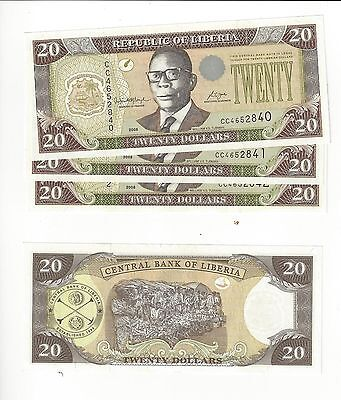 Liberia 2008 20 Dollars   Obsolete Date   4 Pcs Consec # All Nice Unc