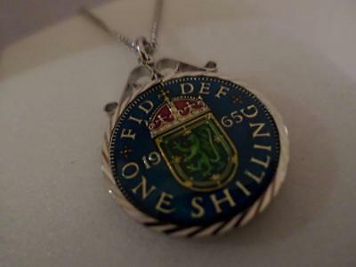 Vintage Enamelled One Shilling Coin 1965 Pendant & Necklace. Great Birthday Gift