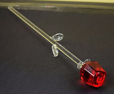 Crystal Cut Clear Single Red Rose 35.5 cm Valentine's Day Mother's Day Gift