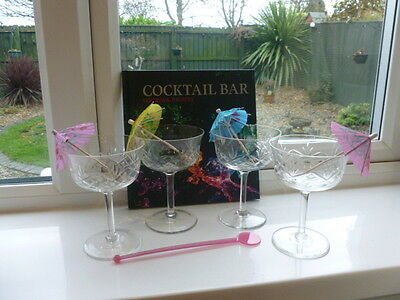 Set of Four Cut Glass Cocktail/Martini Glasses