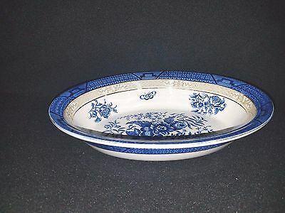 Booths REAL OLD WILLOW (smooth, band on outside) - Oval Vegetable Bowl 10 3/8""