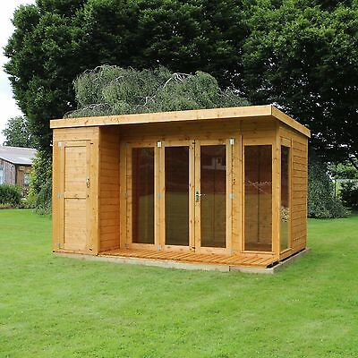 12x8 Wooden Contemporary Shiplap T&G Summerhouse Side Shed & Felt 12FT