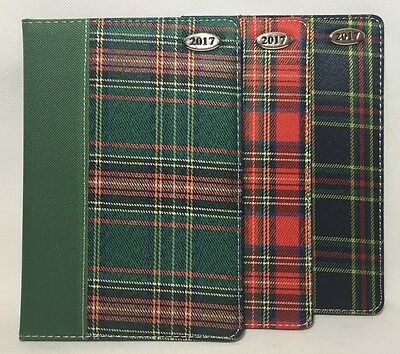 A5 Size Diary WEEK TO VIEW WTV 2017 Tartan Fabric Office Desk Gift