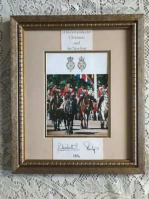 Queen Elizabeth II & Prince Philip Signed Christmas Card Framed 1984