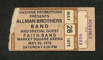 1979 Allman Brothers concert ticket stub Indianapolis IN  Enlightened Rogues