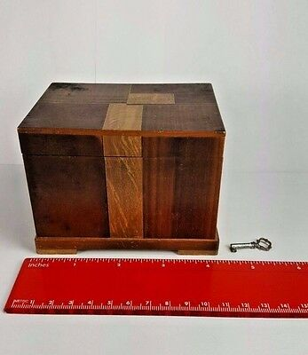 Vintage Japanese Inlaid Wood Wooden Puzzle Box With Hidden Original Key